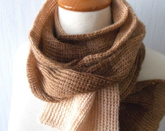 Knitted winter scarf brown cream tones men women long soft warm with mohair angora