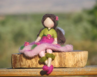 Fairy waldorf inspired doll nursery home decoration Needle felted fairy Felted doll