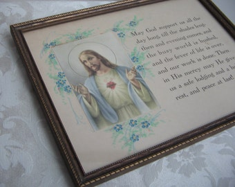 """Vintage Jesus Sacred Heart Art Deco Gold Wood Frame Blessing Motto Prayer """"May God Support Us"""" Religious Icon BEAUTIFUL"""