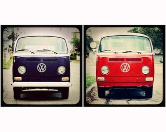 Midcentury Modern Photography Set - VW Bus Friends - Navy Blue Cherry Red Boho Beach Series
