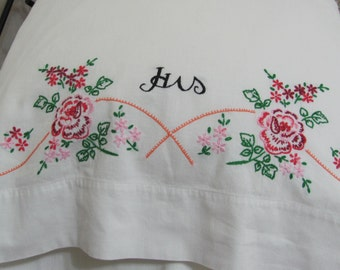 Vintage Hand Embroidered Single HIS Floral Pillowcase Just For Him