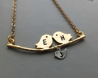 Personalized Initial Gold Bird Family Necklace, Gold Love Birds with Silver Baby Bird - Also Available in Silver, Personalized Jewelry
