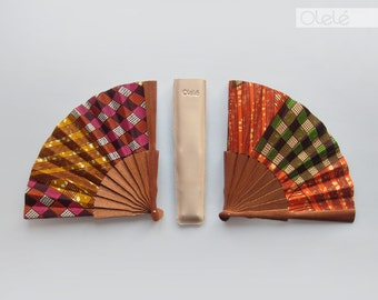 Pick your color | Ankara hand fan with case | checked ethnic fan | Orange and green or Mustard and purple