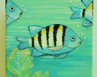 Coastal Painting Original Art Wall Art  Fish Mini Canvas Handmade Coastal Handpainted Art Cottage Decor Signed Painting Tropical Fish Art