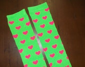 Bright Neon Green with Pink Hearts Toddler / Child leg Warmers - Green & Pink