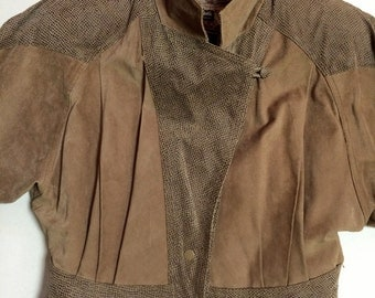 Byrnes and Baker Brown Suede Leather Snakeskin Bomber Jacket Insulated Vintage Women Ladies Retro 80s Designer Authentic Vintage