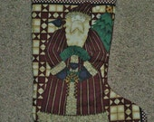 Old Saint Nick Quilted Christmas Stocking