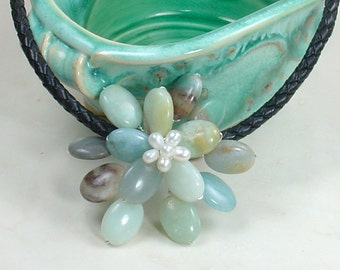 Amazonite Stone Necklace Wired Floral Style on Magnetic Leather Cord