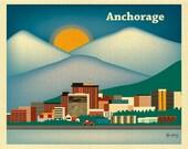 Anchorage Print Skyline Art, Anchorage Wall Art, Alaska Print, Alaskan Baby, Blue Anchorage artwork, horizontal  art print - style E8-O-ANC