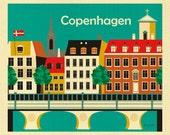 Copenhagen Print, Kopenhaven Skyline, Copenhagen Wall Art, Denmark Retro Travel Poster, Danish Horizontal Print - style E8-O-COP