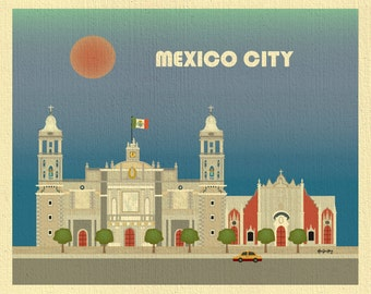 Mexico City Print, Mexico City Skyline Art, Mexico City Horizontal, Mexican Wall Art, Zocalo Mexico City Travelers Art Gift - style E8-O-MEX