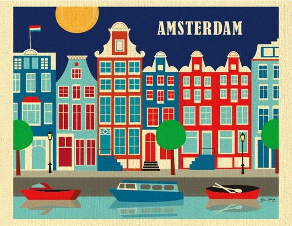 Amsterdam Print, Amsterdam Poster, Amsterdam Wall Art, Amsterdam Holland Retro Travel Art, Dutch Print, Holland Art Print - style E8-O-AMS
