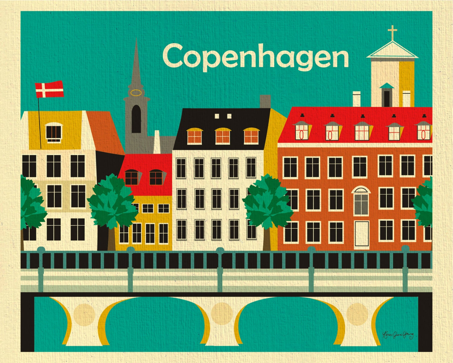 copenhagen denmark print nyahvn skyline copenhagen wall art. Black Bedroom Furniture Sets. Home Design Ideas
