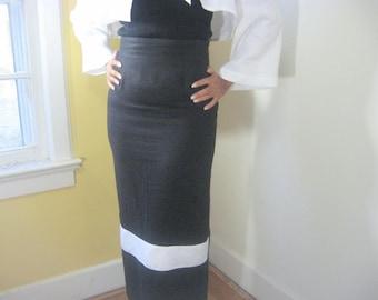 Black Skirt, Black Linen Skirt, High-waist Skirt, Pencil Skirt, Lined Skirt, Fitted Skirt, Anytime, White Trim, Maxi, Black And White Skirt