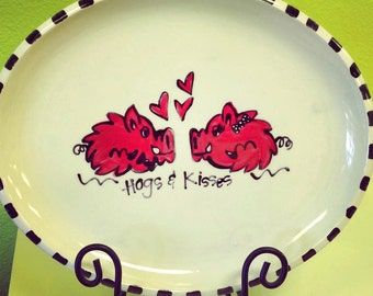 Personalized Hogs & Kisses Platter