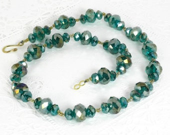 Zen Puffy Rondelle Peacock Blue/Green Necklace