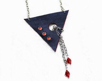 Modern Dark Blue Metallic Leather Triangle Necklace -Red  Rhinestones - Red Czech Glass - Silver Chain - Women's Accessories