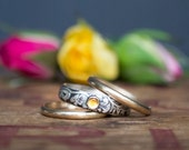 Mixed Metal Wedding Ring Set - Sterling Silver and 14k Gold Women's Wedding Band - Unique Wedding Ring - Engagement Ring - Gemstone Ring