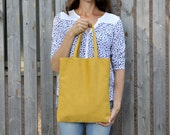 tote bag. shopping bag.  yellow tote bag. mustard yellow. day bag. spring bag