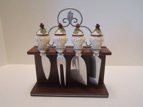 Christmas cheese canape knives set of 4 on display rack by for Canape knife set