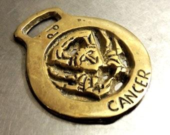 vintage Cancer zodiac sign brass tack medal