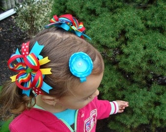Toddler Hair Bow Rainbow Hair Bow Set Loopy Flower Hair Bow Hair Bow Pair