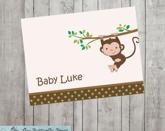 Monkey Note Cards  --  personalized folded notecards  --  personalized stationery  - Monkey Cards
