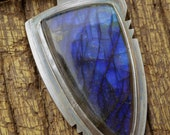 Blue Arrowhead Pendant: Fabricated Sterling Silver with Gorgeous Blue Labradorite