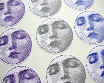 Moon Face Stickers Envelope Seals Labels Cardstock Blue Moon Fantasy