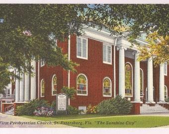 Florida Postcard St. Petersburg FL Presbyterian Church Vintage Linen Postcard Collectible - Church Ephemera