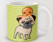 Octopug - Octopus - Pug lover - Dog lover cup Happy Coffee mug Artwork by Lucy Dynamite