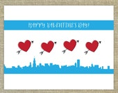 Chicago Flag Valentine's Day card; Sets of 12, 20, 25 & more; paired with matching envelopes in the color of your choice