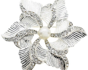 Crystal Flower Wedding Pin 1004072