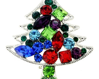 Mutlicolor Christmas Tree Crystal Pin Brooch 1003441