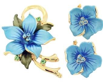 Blue Poinsettia Swarovski Crystal Flower Pin Brooch And Earrings Gift Set 4000001