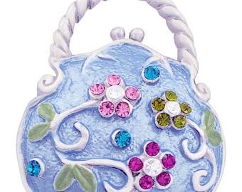 Multicolor Flower Blue Handbag Swarovski Crystal PinBrooch 1000882