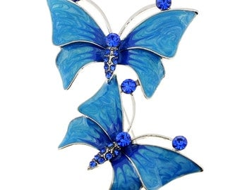 Blue Butterfly Couple Crystal Pin Brooch 1002353