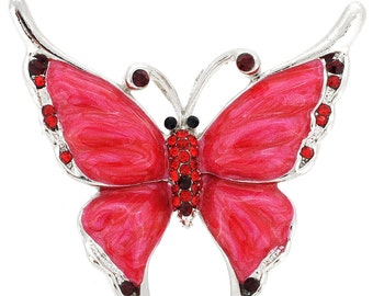 Red Butterfly Pin Brooch And Pendant 1004171
