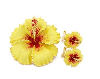 Yellow Hawaiian Hibiscus Flower Brooch And Earrings Gift Set 4000021