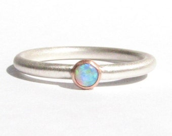 Opal, Solid Rose Gold & Silver Ring - Opal Ring - Stacking Ring - Rose Gold Ring - Opal and Rose Gold - Gemstone Ring - MADE TO ORDER.