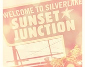 Sunset Junction Los Angeles photograph, Silverlake California sign, LA music scene, Sunset Junction street fair, musicians, LA neighborhood