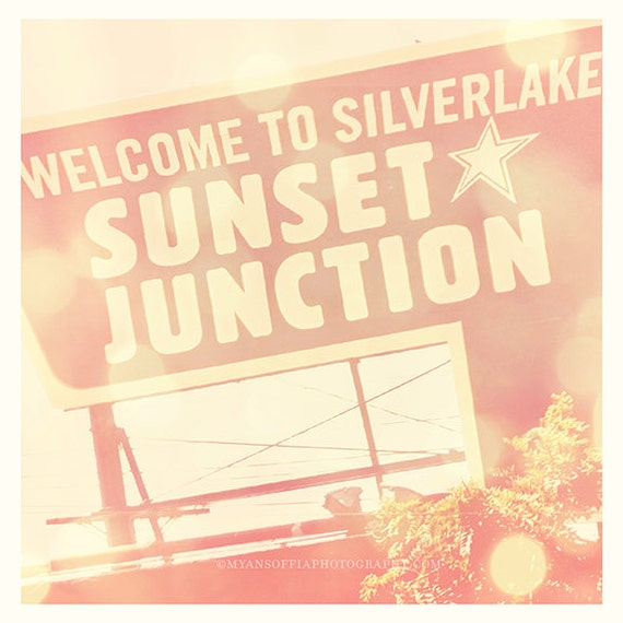 Sunset Junction Los Angeles photograph, Silverlake California sign, LA music scene, Sunset Junction street fair, musicians, LA neighborhood