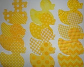 12 Iron On Baby Yellow DUCK Fabrics Applique Assortment..Baby RUBBER DUCK Onesie Making/Quilts/Onesies