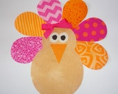 Iron On Applique Thanksgiving Patch... Pink And Orange Colors......TURKEY GIRL