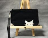 SALE Black Cat Painted Leather Wristlet. Cat Clutch.