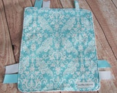 READY TO SHIP - Mini Size - Minky Lovey /  Security Blanket - Riley Blake Aqua Damask - White minky back