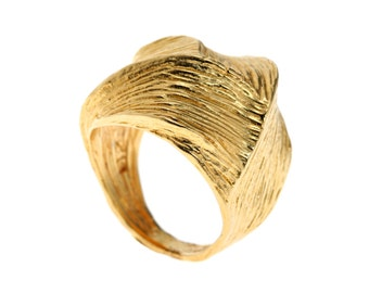 Modern Gold Ring - Swirl Ring - Gold Filled Textured Ring - Statement Ring - Bold Ring - Handmade Jewelry