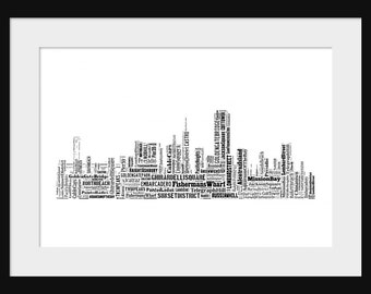 San Francisco Skyline Typography Print Poster Map