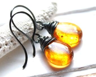 CLEARANCE / SALE - Orange Yellow Glass Earrings, Sunshine Dust Oxidized Wire Wrapped Czech Glass Teardrop, Sterling Silver Earwires