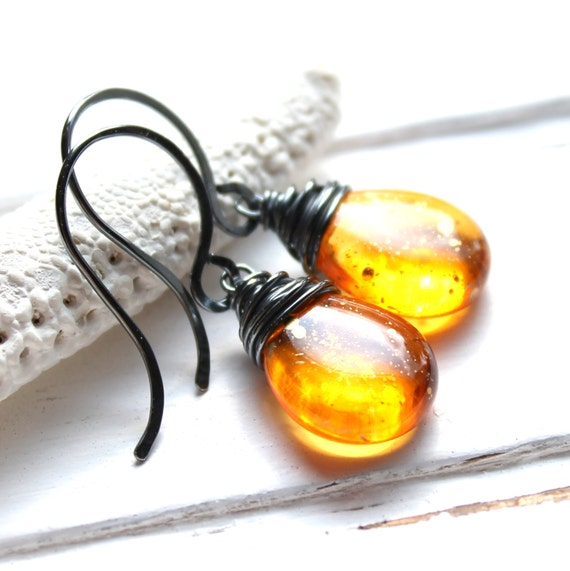 CLEARANCE / SALE - Orange Yellow Glass Earrings, Sunshine Dust Oxidized Wire Wrapped Czech Glass Teardrop, Sterling Silver Earwires